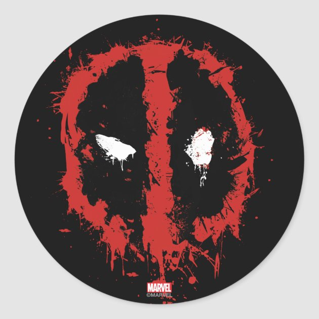Deadpool Paint Splatter Logo Classic Round Sticker Zazzle