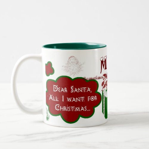 Dear Santa 2-Tone Mug - Personalize Name/Message mug