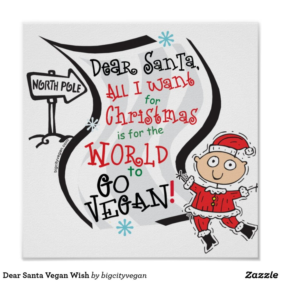 Dear Santa Vegan Wish Poster