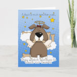 Sweet Brown Cartoon Angel Dog Pet Loss Sympathy Card