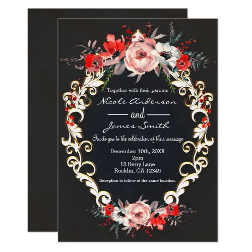 December Winter Wedding Holly Berry Floral Elegant Invitation