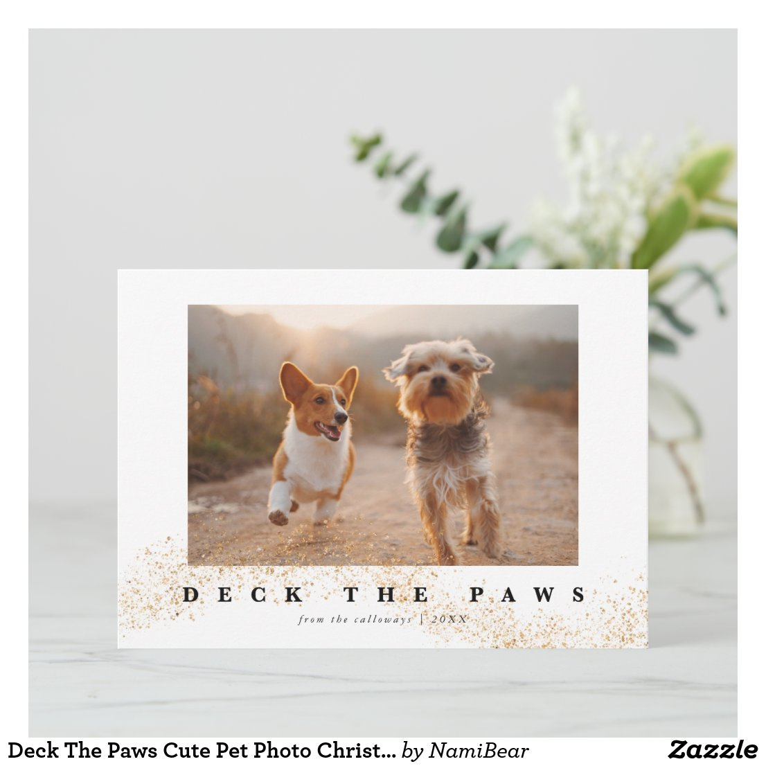 Deck The Paws Cute Pet Photo Christmas Holiday Card