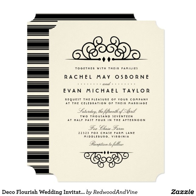 Deco Flourish Wedding Invitation