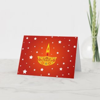 Decorated Diya (Lamp) - Card card