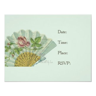 Decorated Valentine Fan 4.25x5.5 Paper Invitation Card