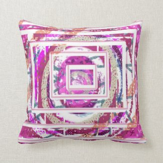 Decorative Pillow Abstract Design Fuchsia