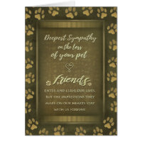 Deepest Sympathy Pet Loss Card Gold Paw Prints