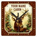 Deer Cabin Personalized Name Wood Grain Vintage Square Wallclock