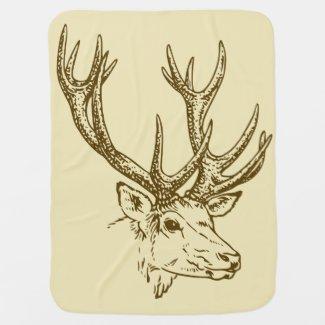 Deer Head Illustration Graphic Baby Blanket