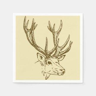 Deer Head Illustration Graphic Napkin