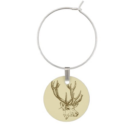 Deer Head Illustration Graphic Wine Charm
