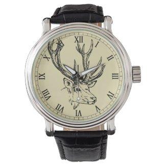 Deer Head Illustration Graphic Wristwatch