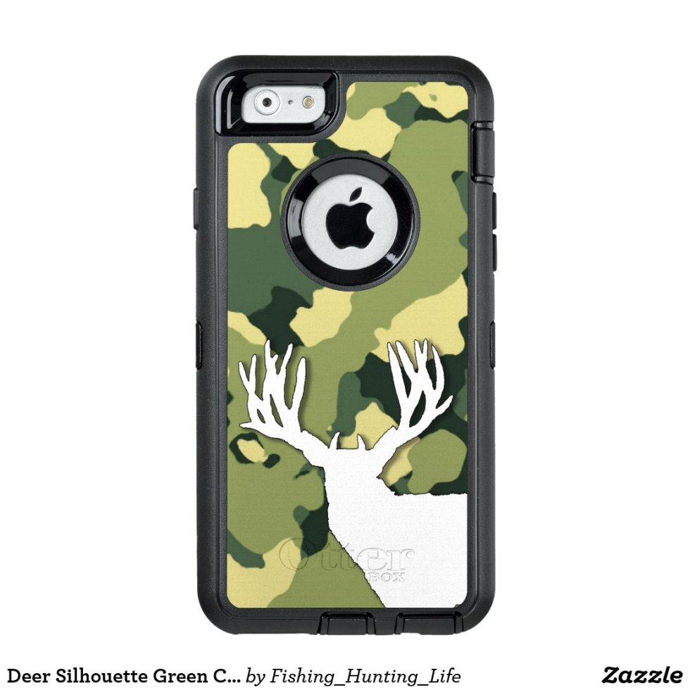 Deer Silhouette Green Camo Hunting OtterBox iPhone Case