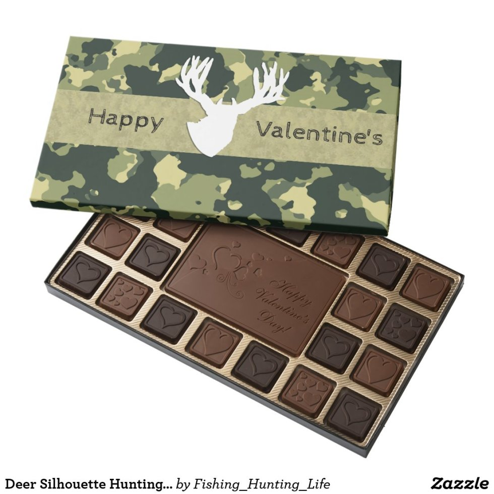Deer Silhouette Hunting Valentines 45 Piece Box Of Chocolates
