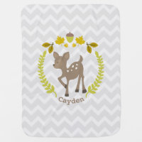 Deer Wreath Gray Chevron Baby Blanket - Boy