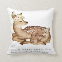 Deer You Are My Sunshine Woodland Girl Boho Pillow