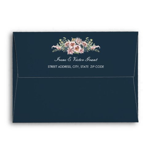 Delicate Anemone Flowers Navy Blue Wedding | A7 Envelope