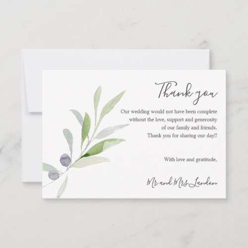 Delicate Olive and leaves green Wedding thank you