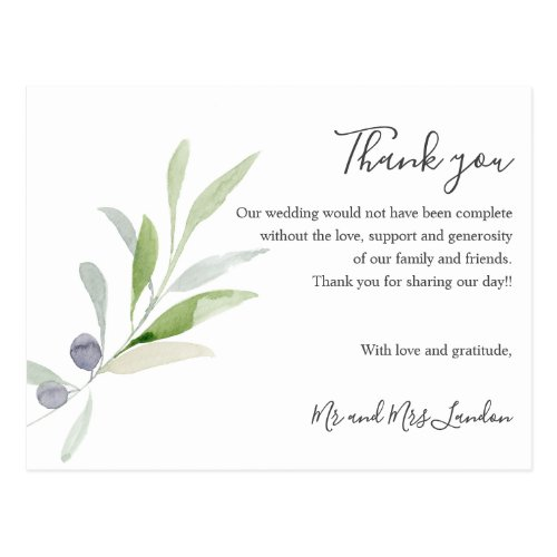 Delicate Olive and leaves green Wedding thank you Postcard