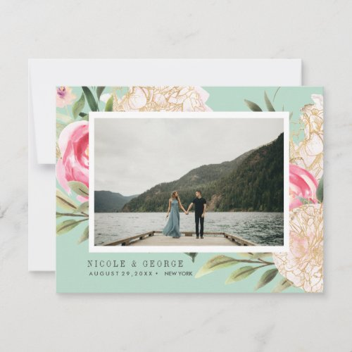 Delicate Peony gold flowers photo save the date Announcement