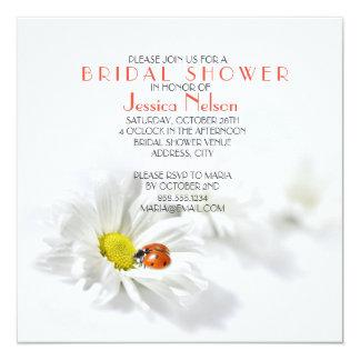 Delicate Spring Daisy Ladybug Bridal Shower Card