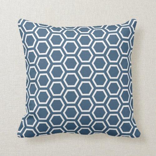 Denim Blue Dark Honeycomb Pattern Throw Pillow