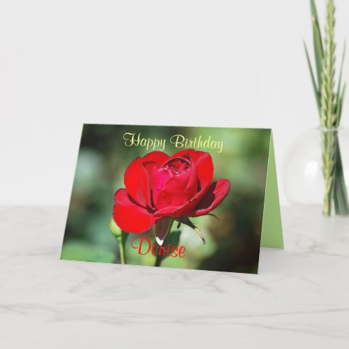 Denise Happy Birthday Red Rose Card card