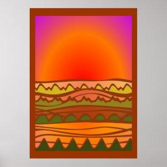 Desert landscape Poster print