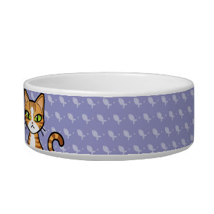 Design Your Own Cartoon Cat (customizable name) Cat Food Bowls