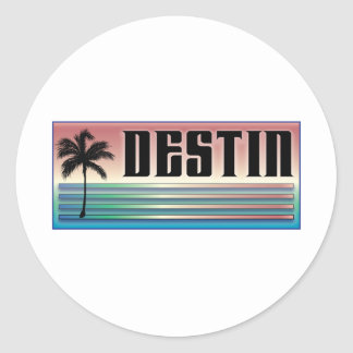 Destin Retro Rainbow and Palm Tree Stickers