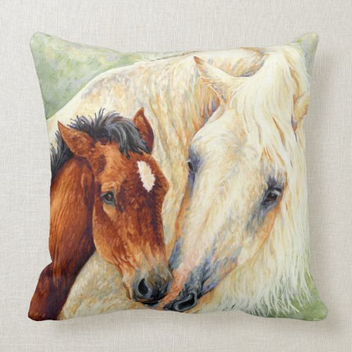 Devotion - Mare & Foal Designer Pillow throwpillow
