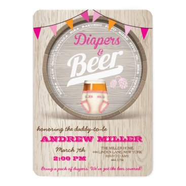 Diapers and Beer Baby Shower Girl Invitation
