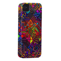digital quilt modern retro Case-Mate iPhone 4 cases