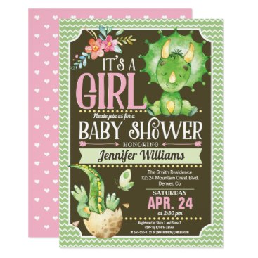 Dinosaur Baby Shower Invitation Girl, Green & Pink