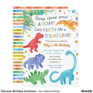 Dinosaur Birthday Invitation Colorful Cute