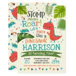 Stomp, Chomp & Roar Dinosaur Birthday Party Invitation