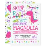 Stomp, Chomp & Roar Pink Dinosaur Birthday Party Invitation