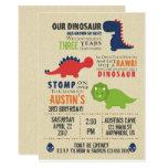 Red & Green Dinosaur Birthday Party Invitation