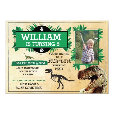 Dinosaur Birthday Party TRex Dino Dig Photo Invite