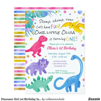 Dinosaur Girl 1st Birthday Invitation Colorful