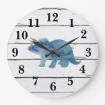 Dinosaur Triceratops Decor Rustic Shiplap Large Clock