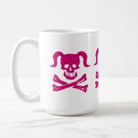 Dirty Girly Mug - Pink Skull on white on Zazzle