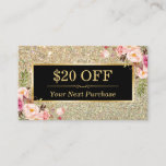 Discount Coupon Beauty Salon Floral Gold Glitter