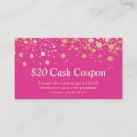 Discount Coupon Card Glam Gold Pink Confetti Dots