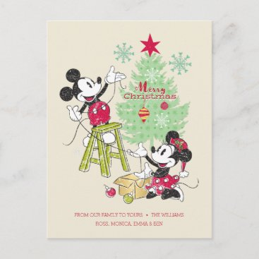 Disney | Mickey & Minnie | Classic Christmas Tree Holiday Postcard