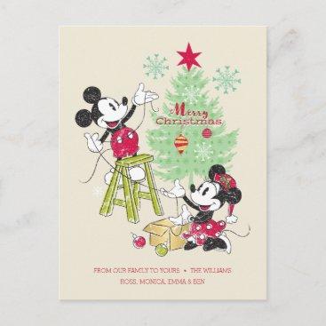 Disney | Mickey & Minnie | Classic Christmas Tree Holiday Postcard