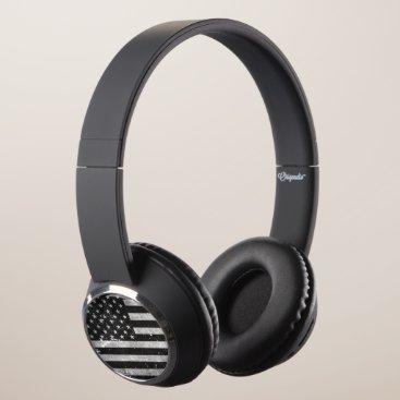 Distressed Black and White vintage American Flag Headphones