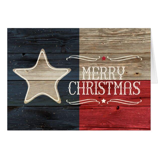 Distressed Wood Texas Flag Christmas Card Zazzle