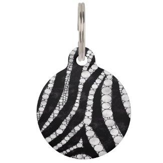 Diva Bling Zebra Print Black/White Pet Tag