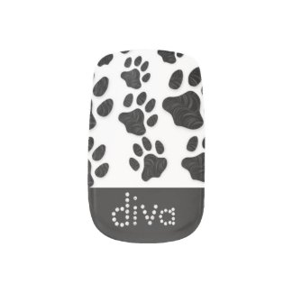 DIVA Kitty Paws black/White Minx Nail Wrap